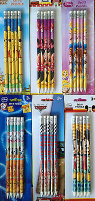 Bleistifte mit Radierer * Set 5tlg * Disney * Minnie * Mickey * Cars * Princess