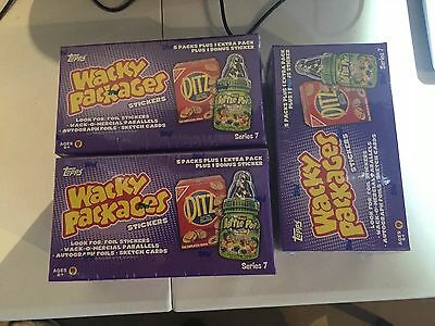 3. BOXES LOT 2010 TOPPS WACKY PACKAGES SERIES 7 FACT SEALD.
