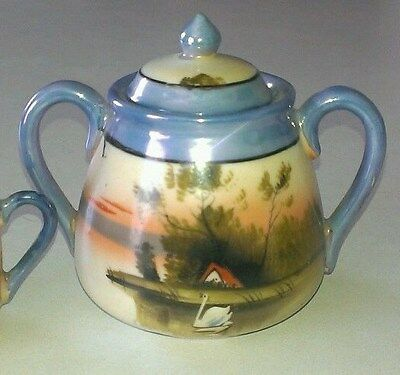 Vintage Lusterware Sugar Bowl Made In Japan Blue Luster Band Swan Lake