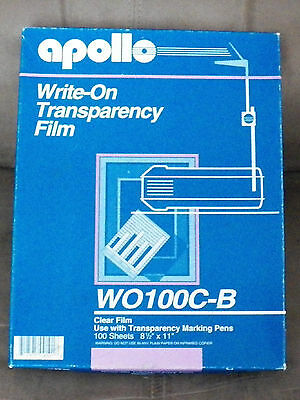 Apollo Write-On Transparencey Clear Film 8 1/2 x 11, 65+ Sheets, WO100C-B