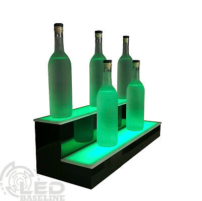 "30"" 2 Tier Step - LED Lighted Back Bar Liquor Bottle Shelf Glowing Display Stand"