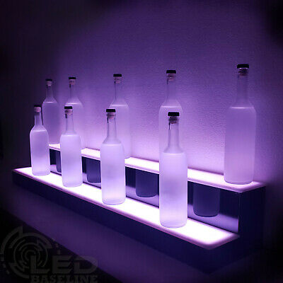 "48"" 2 Step LED Lighted Glowing Liquor Bottle Display Shelf Home Back Bar Rack"