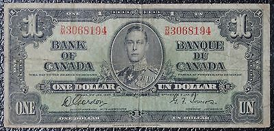 BANK OF CANADA - 1937 $1 NOTE - Prefix D/M - Signed Gordon & Towers - NCC