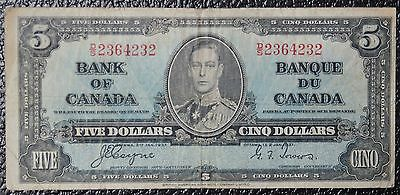 BANK OF CANADA - 1937 $5 NOTE - Prefix D/S - Signed Coyne & Towers - NCC
