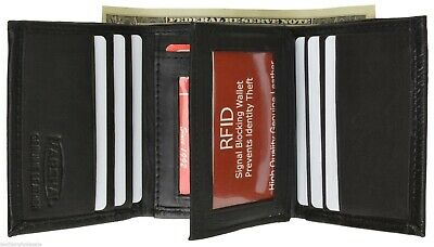 Mens Trifold Leather Wallet RFID Blocking Black New Marshal!