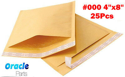"""25 #000 4x 8 KRAFT BUBBLE MAILERS PADDED ENVELOPES PACKING SHIPPING BAG 4"""" X 8"""""""