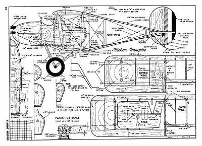 """Vickers Vampire WW I  Model airplane plan 38"""" top wing, .29 to .35"""