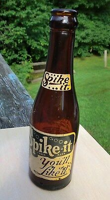 SPIKE IT - YOU'LL LIKE IT, 7oz  SODA BOTTLE ~LOOK~ VINTAGE , UNIQUE, RARE