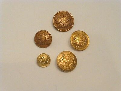 Five Assorted Vintage Gold-Tone Metal Crest Buttons, Never Used, Ca. 1980's