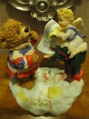 "Cute ""Merry Christmas"" Bear & Angel at Mailbox Figurine by HolidayTime"