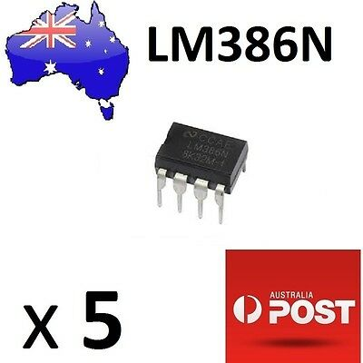 5 Pcs LM386N Low Power Audio Amp DIP-8 (Arduino/PIC) AU Stock Fast Delivery