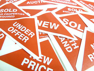 Property Sales Stickers, Small Red Triangles, Estate & Letting Agents Labels