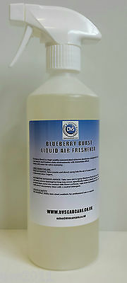 BLUEBERRY CAR AIR FRESHENER CONCENTRATE x 500ML & TRIGGER SPRAY.CAR VALETING