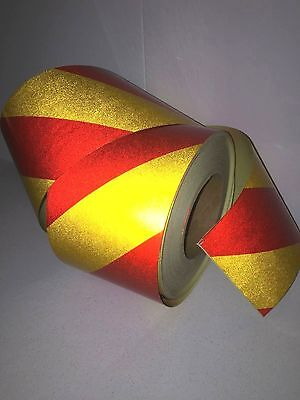 Hi-Vis Red/Yellow Striped Adhesive Vehicle Reflective Safety Tape 100mm x5m Roll