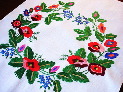 Vintage Hand Embroidered Linen Panel Floral Wreath Embroidery Pillow Top