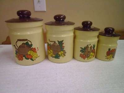Vintage Mid Century Kromex Set of 4 Yellow Canisters, Country Fruit & Vegetables