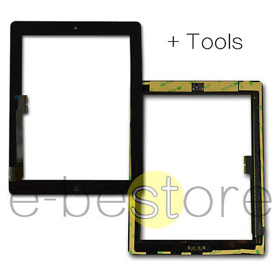 Black Replacement For iPad 3 Touch Screen Front Glass Digitizer Home Button Tool