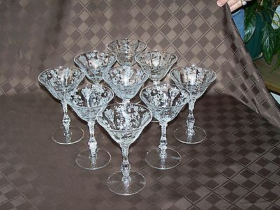 NINE(9) CAMBRIDGE ROSEPOINT CRYSTAL CHAMPAGNE/TALL SHERBERT GLASSES