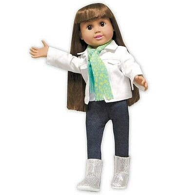 "Doll Clothes 18"" Denim Jacket White Scarf Fits American Girl Dolls"