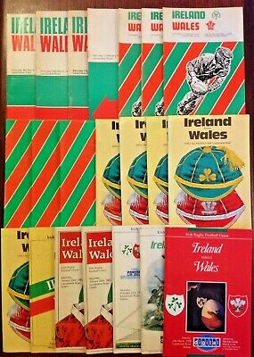 Ireland v Wales Rugby Programmes 1952 - 2010