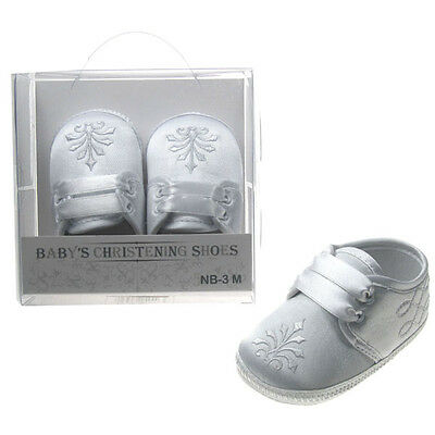 Baby Boy White satin Embroided Christening soft sole bootee with ribbon laces.