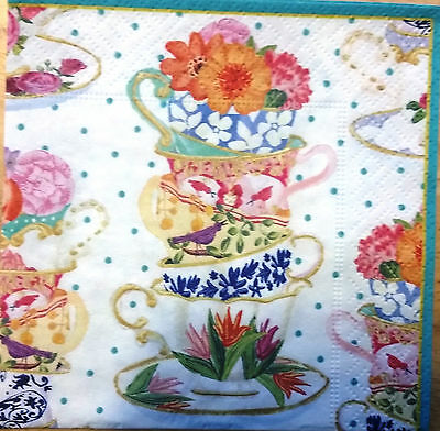 THREE (3) Tea Cups Paper Cocktail Napkins for Decoupage and Paper Crafts