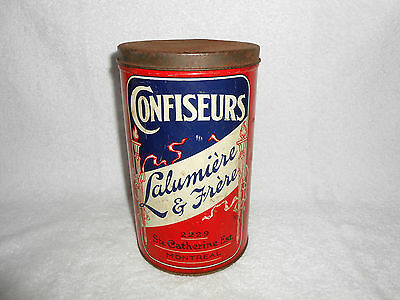 VINTAGE LALUMIERE & FRERE LARGE CANDY TIN -MONTREAL CANADA