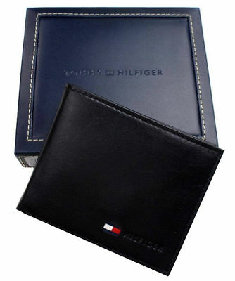 New Tommy Hilfiger Men's Leather Credit Card Id Wallet Billfold Flag 5389-01