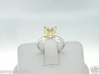NEW 1CT Princess Canary Simulated Diamond Engagement Ring 14kt White Gold