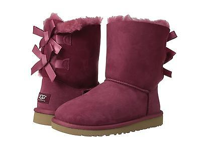 UGG GIRLS CLASSIC BAILEY BOW BOOTS RED PLUM SIZE 5 YOUTH Fits Womens Size 7 NEW