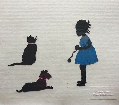 BLACK AMERICANA SILHOUETTE LITTLE AFRICAN AMERICAN GIRL & PET DOG CAT  - OOAK