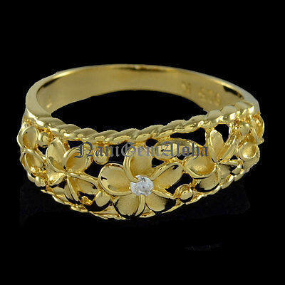 14k Yellow Gold Plated 5 Plumeria Flower Ring 925 Sterling Silver Curve Style