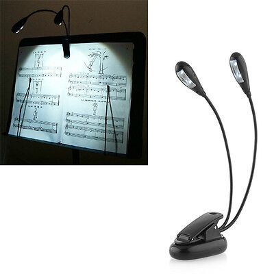 Music Stand Clip On 4 LED Dual Duet Arm Book Reading Light Super Bright New