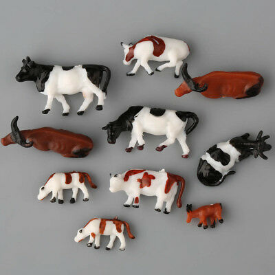 10 x HO Scale Model Train Layout  Well Painted Farm Animal Figures 1:87 Cows