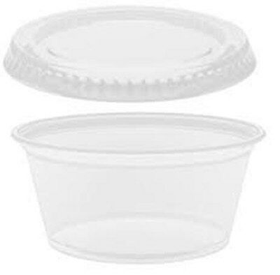 100 Jello shot souffle portion cup with lids - 2 oz clear disposable