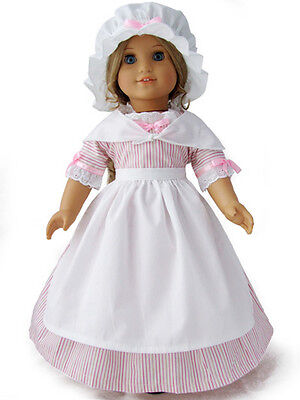 """Doll Clothes 18"""" Doll Colonial Dress Pink White Fit American Girl Doll Elizabeth"""