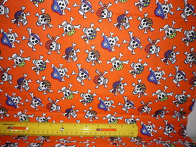 Halloween Fabric - Skeleton Pirate Heads on Bright Orange - Sold by the Yard