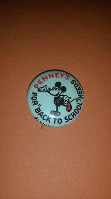 1930s JC Penneys Mickey Mouse Back To School Advertising Pinback w/paper
