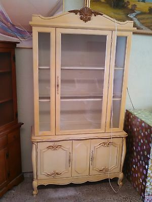 Vintage  French Provincial Cabinet China Hutch - WITH TWO GLASS SHELVES!