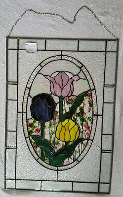 Large Stained Glass with wall hanging chain  floral tulip rose flowers sunshine