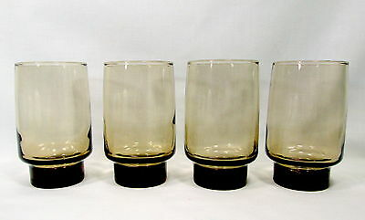 4 Libbey Tawny Accent 10 oz Tumblers Smoke Brown Drinking Glass Beverage Vintage