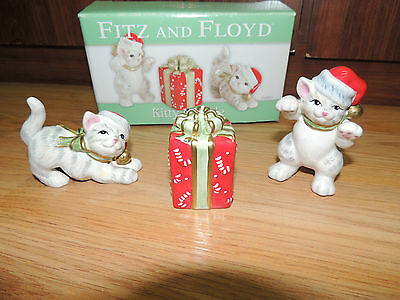 FITZ AND FLOYD KITTY KRINGLE TUMBLERS 3 FIGURINES CHRISTMAS BOX CATS