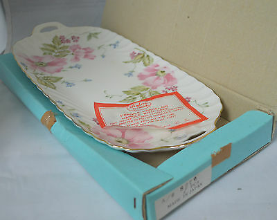 Andrea by Sadek Floral Serving Platter Tray Plate w/ Handles Gold Trim - Box ##