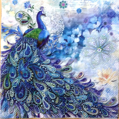 THREE (3) Peacock Luncheon Paper Napkins for Decoupage and Paper Crafts