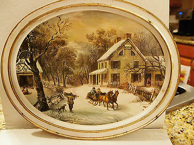 Vintage Tin Serving Tray Sunshine Biscuits The American Homestead Currier & Ives