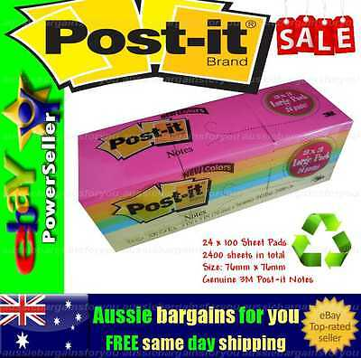 2400 x 3M Post-it Note Pads Postit Office Sticky Memo Pink Orange Yellow Blue