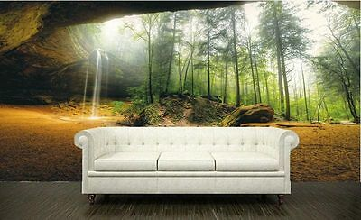 Cave in Forest Nature Rock Waterfall 3D Full Wall Mural Photo Wallpaper Home Dec