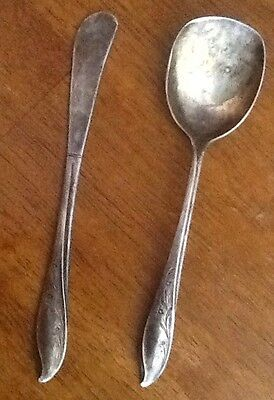 SPRINGTIME 1957 SILVERPLATE SUGAR SPOON & SPREADER 1847 ROGERS BROTHERS