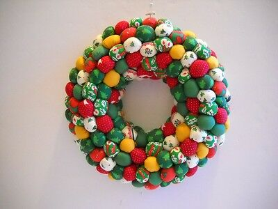 """Hand-Crafted~One-of-a-Kind~Christmas~9"""" Round Wreath w/""""Stuffed Fabric Poufs"""""""
