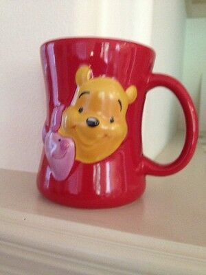 Disney Store Friends Forever Winnie Pooh Piglet 3D Red Mug Yellow Inside NEW
